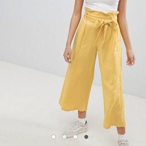 ASOS yellow wide leg linen pants